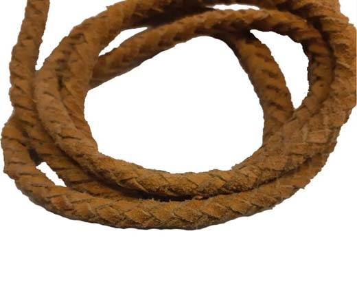 Suede Braided Leather Cords 8mm - yellow