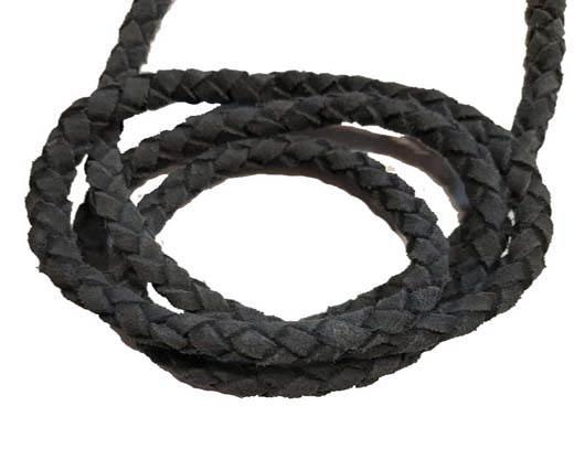 Suede Braided Leather Cords 8mm - dark blue