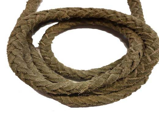 Suede Braided Leather Cords 8mm - Natural