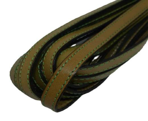 Italian Flat Leather 10mm-olive_green_with_green_double_stitches