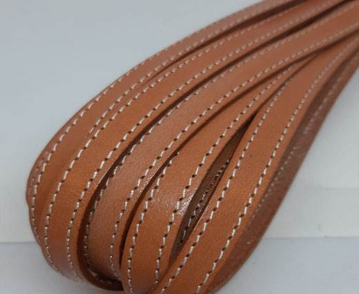 Italian Flat Leather 10mm-pink beige-white double stitches