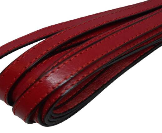 Italian Flat Leather 10mm-red_and_black_with_double_red_stitches