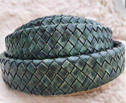 Oval Braided Leather Cord-18.5*5.2mm-se-vintage green