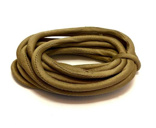 Real silk cords with inserts - 4 mm -  Beige