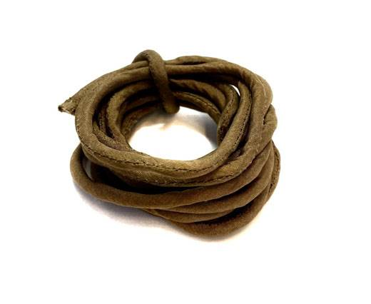 Real silk cords with inserts - 3mm - CAMEL