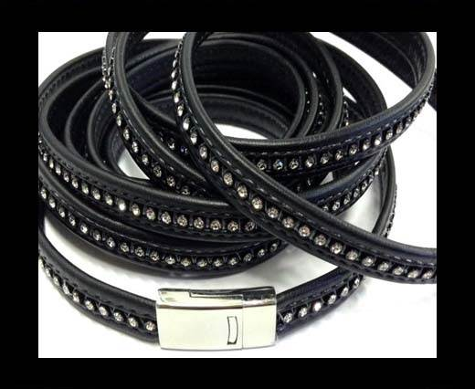 10MM Flat Nappa with Swarovski -Black