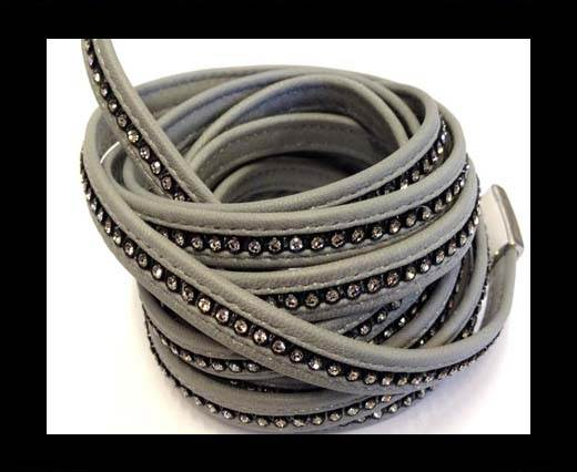 Buy 10MM Flat Nappa with Swarovski -Grey at wholesale prices
