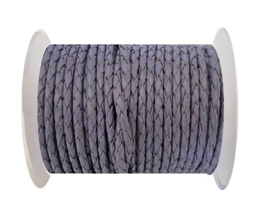 Round Braided Leather Cord SE/B/15-Violet - 6mm