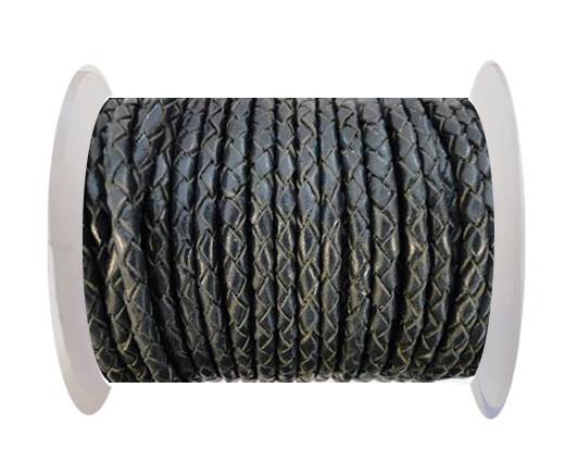 Buy Round Braided Leather Cord SE/B/20-Coal - 3mm at wholesale prices