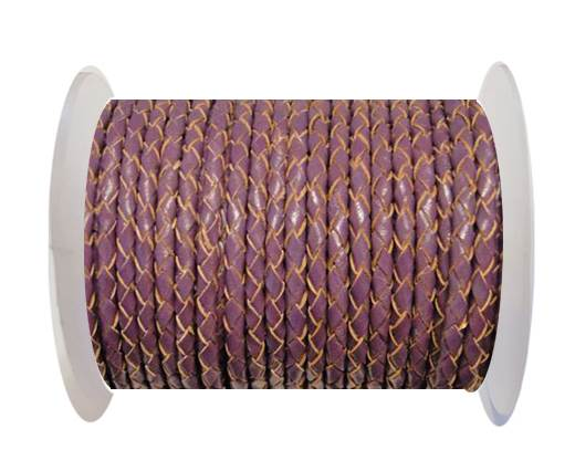 Buy Round Braided Leather Cord SE/B/2004-Purple - 3mm at wholesale prices