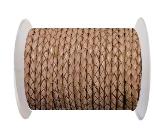 Round Braided Leather Cord SE/B/2006-Salmon - 3mm