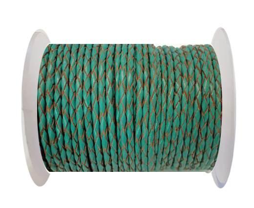 Round Braided Leather Cord SE/B/2007-Sea blue - 3mm