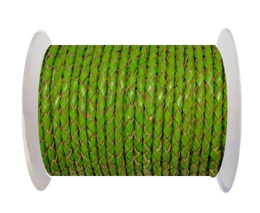 Buy Round Braided Leather Cord SE/B/2009-Green Grass - 3mm at wholesale prices