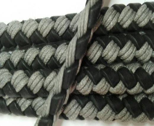 Braided leather with cotton - Black and White -8mm
