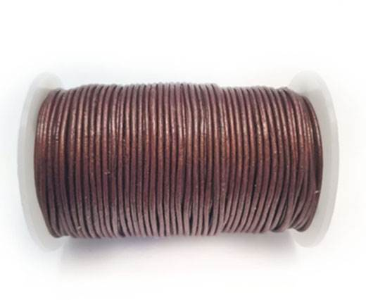 Round Leather Cord -1mm- Metallic Bordeaux
