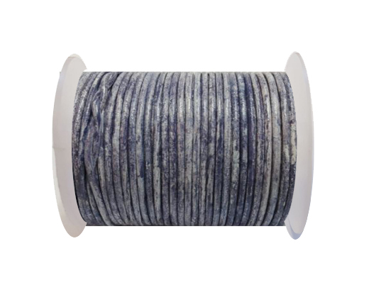 Round Leather Cord-1,5mm- Vintage Navy Blue with white  base