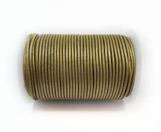 Round Leather Cord-1,5mm- M. MUSTARD GREEN