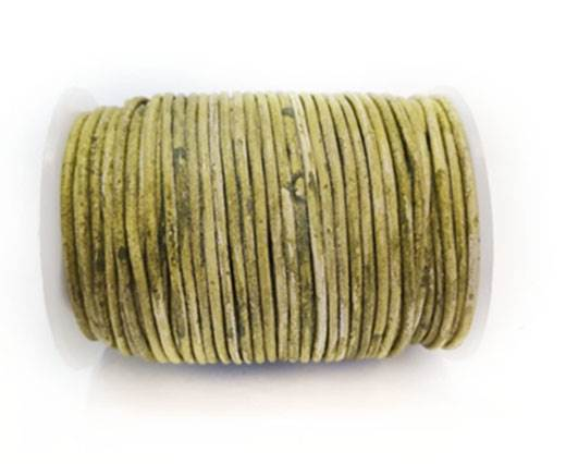 Round Leather Cord-1,5mm- VINTAGE PISTACCHIO WITH WHITE BASE