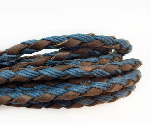 Braided leather with cotton - Blue AND Brown -8mm