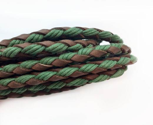 Braided leather with cotton - Green AND Coffee Brown -8mm