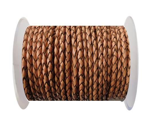 Round Braided Leather Cord SE/B/2011-Pumpkin-6mm