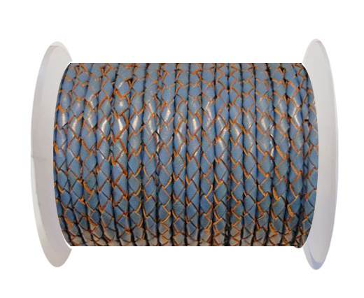 Round Braided Leather Cord SE/B/2012-Sky blue-6mm