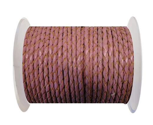 Round Braided Leather Cord SE/B/2014-Pink-6mm