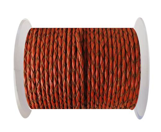 Buy Round Braided Leather Cord SE/B/2016-Brick - 3mm at wholesale prices