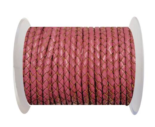 Buy Round Braided Leather Cord SE/B/2017-Berry - 3mm at wholesale prices