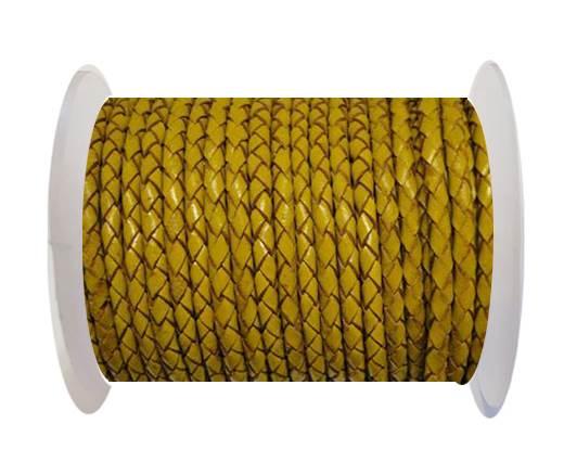 Round Braided Leather Cord SE/B/2020-Mustard - 3mm