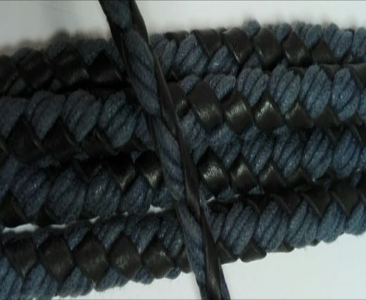Braided leather with cotton - Black and Blue -6mm
