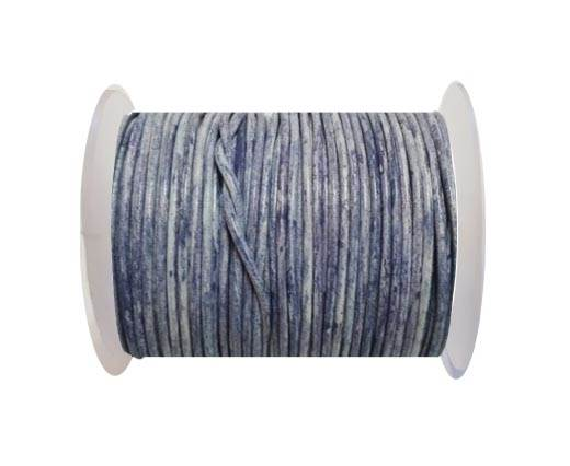 Round leather cord-2mm- Vintage Navy Blue with white  base