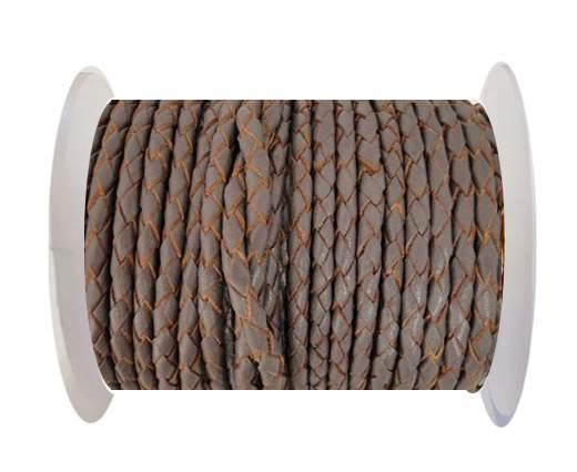 Round Braided Leather Cord SE/B/2023-Violet Plum-3mm