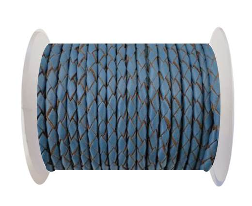 Round Braided Leather Cord SE/B/2024-Jeans-3mm