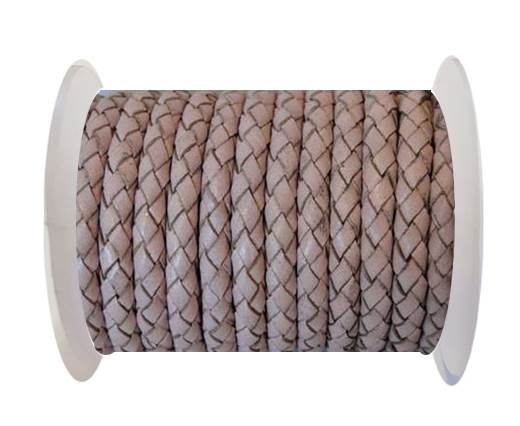 Buy Round Braided Leather Cord SE/B/2033-Baby Pink - 3mm at wholesale prices