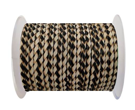 Buy Round Braided Leather Cord SE/B/21-Black-White - 3mm at wholesale prices