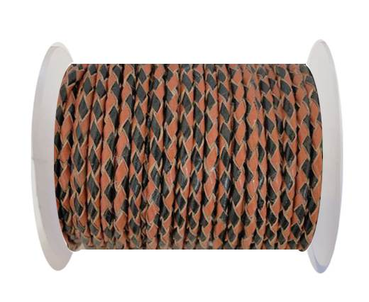 Round Braided Leather Cord SE/B/23-Black-Hazelnut - 3mm