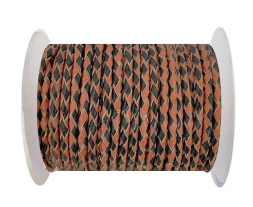 Round Braided Leather Cord SE/B/23-Black-Hazelnut - 6mm