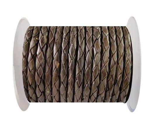 Round Braided Leather Cord SE/B/03-Dark Brown - 8mm