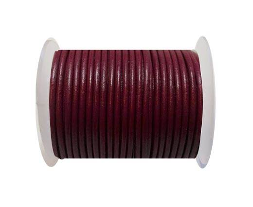 Round Leather Cord - 3mm - FUSCHIA