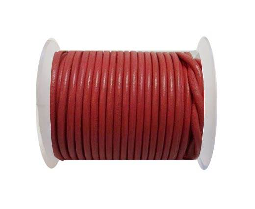Round Leather Cord - 3mm - Raspberry