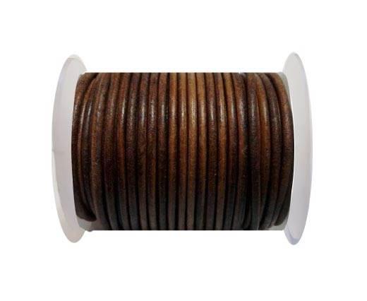 Round Leather Cord - 3mm - Vintage Dark Natural