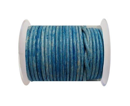 Round Leather Cord - 3mm - Vintage light Blue with white  base