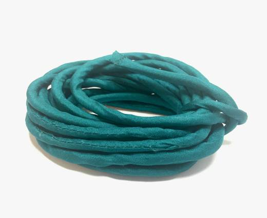 Real silk cords with inserts - 4 mm - Emerald