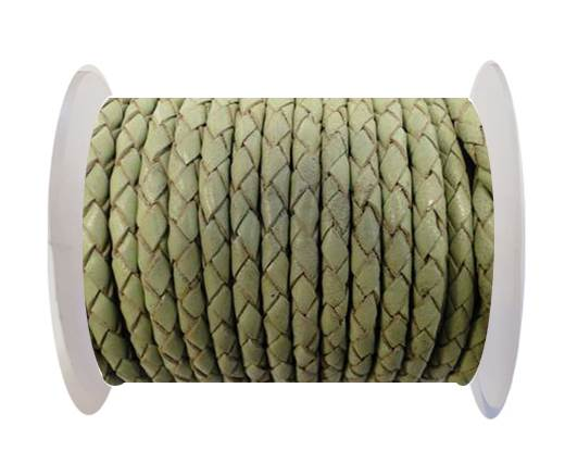 Buy Round Braided Leather Cord SE/B/516-Pastel Green - 3mm at wholesale prices