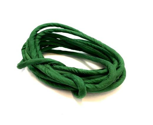 Real silk cords with inserts - 4 mm - Bottle Green