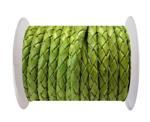 Round Braided Leather Cord SE/B/522-Light Green - 6mm