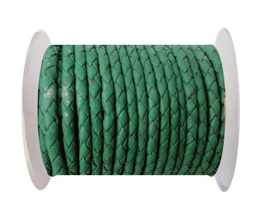 Round Braided Leather Cord SE/B/523-Moss Green-3mm