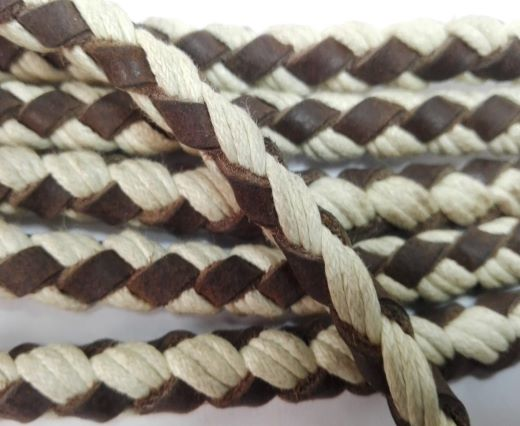 Braided leather with cotton - Brown and natural -8mm