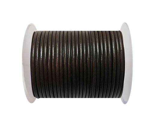 Round leather cord-4mm-  Coffee Brown